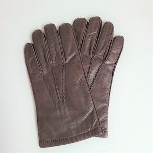 Men's brown leather Thinsulate gloves.
